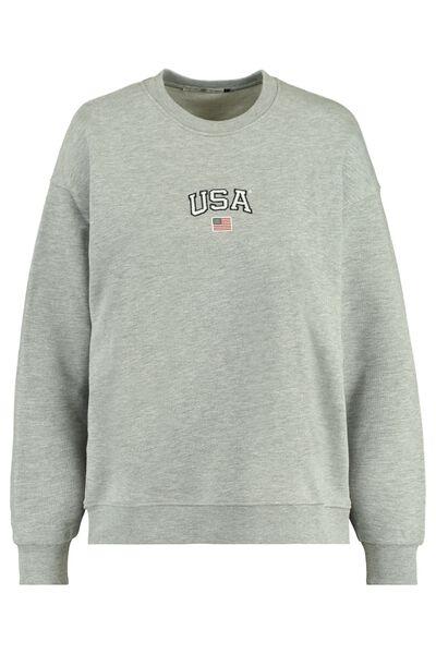 Sweater grijs met USA borduring
