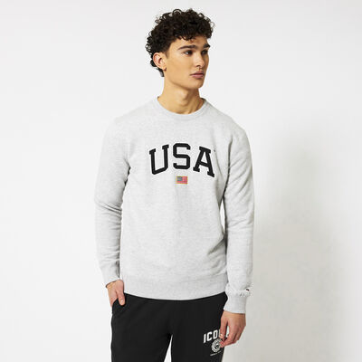 Sweater with embroidered USA text