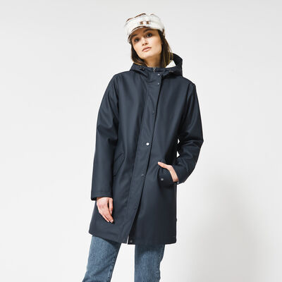 Long raincoat made of recycled polyester teddy