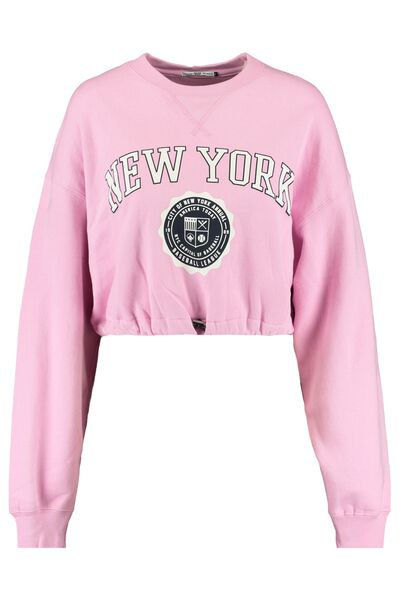 Cropped sweater with New York text print