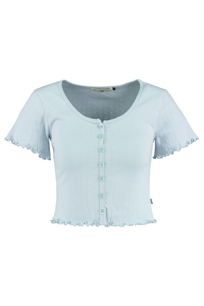 T-shirt cropped button closure