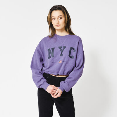 Cropped Fit sweatshirt mit New York Text-Print