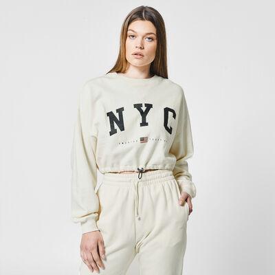 Cropped sweater met New York tekstprint