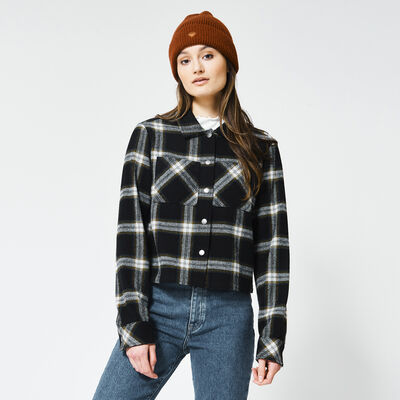 Shirt with plaid print