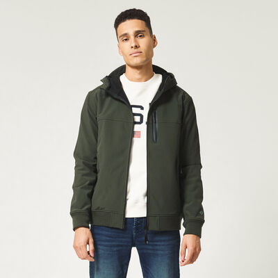 Jacket with hood and slit pockets