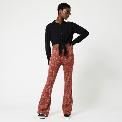 Flared trouser all-over print