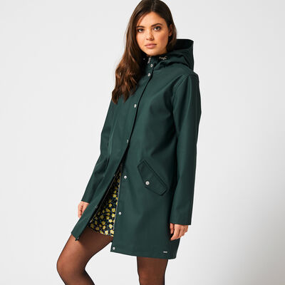 Long and lined raincoat