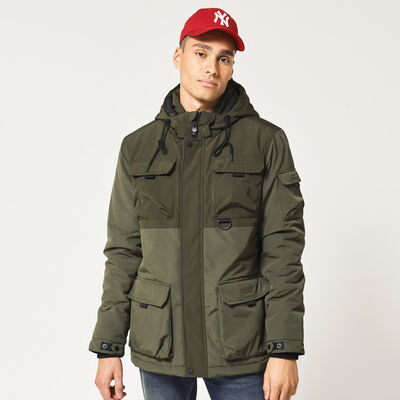 Jacket with detachable hood and chest pocketets