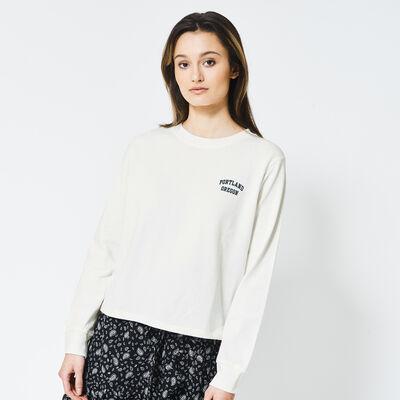 T-shirt a manches longues à texte imprimé