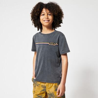 T-shirt streep tekstprint
