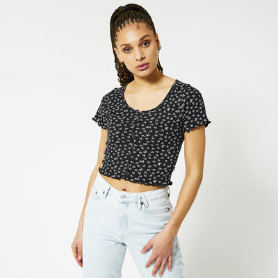 T-shirt cropped knoopsluiting
