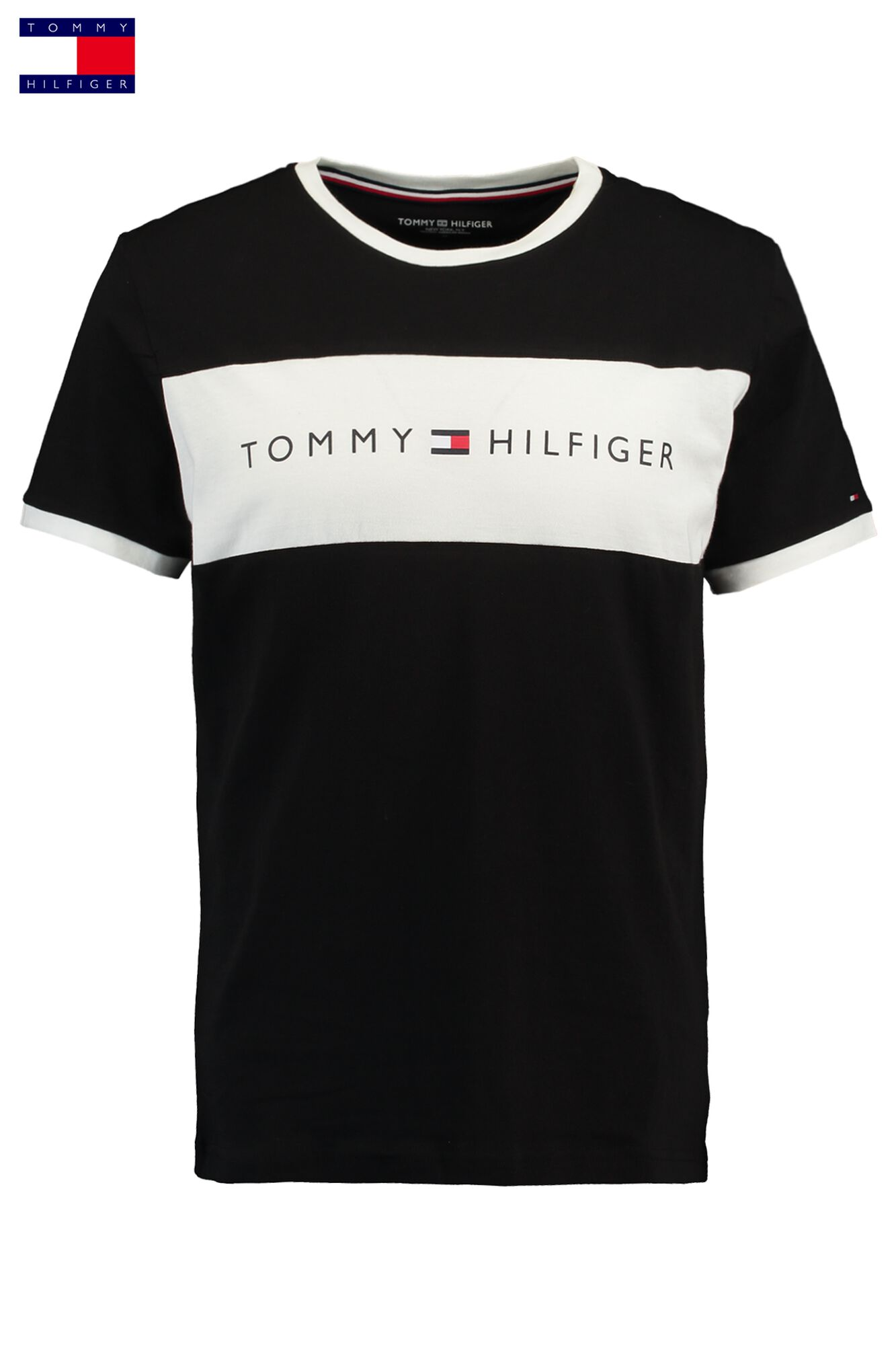 check out a2ef1 d3e7d Men T-shirt Tommy Hilfiger Logo Flag Black Buy Online