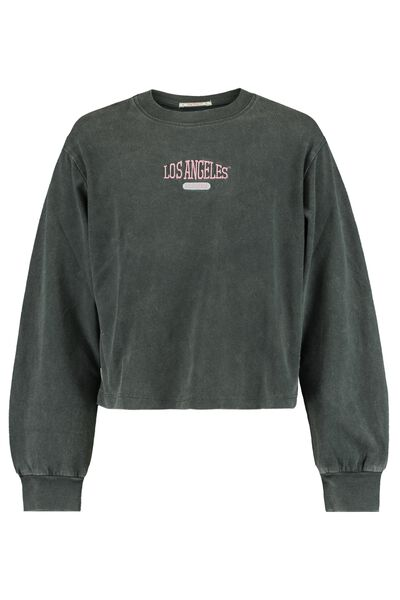Long sleeve with text embroidery