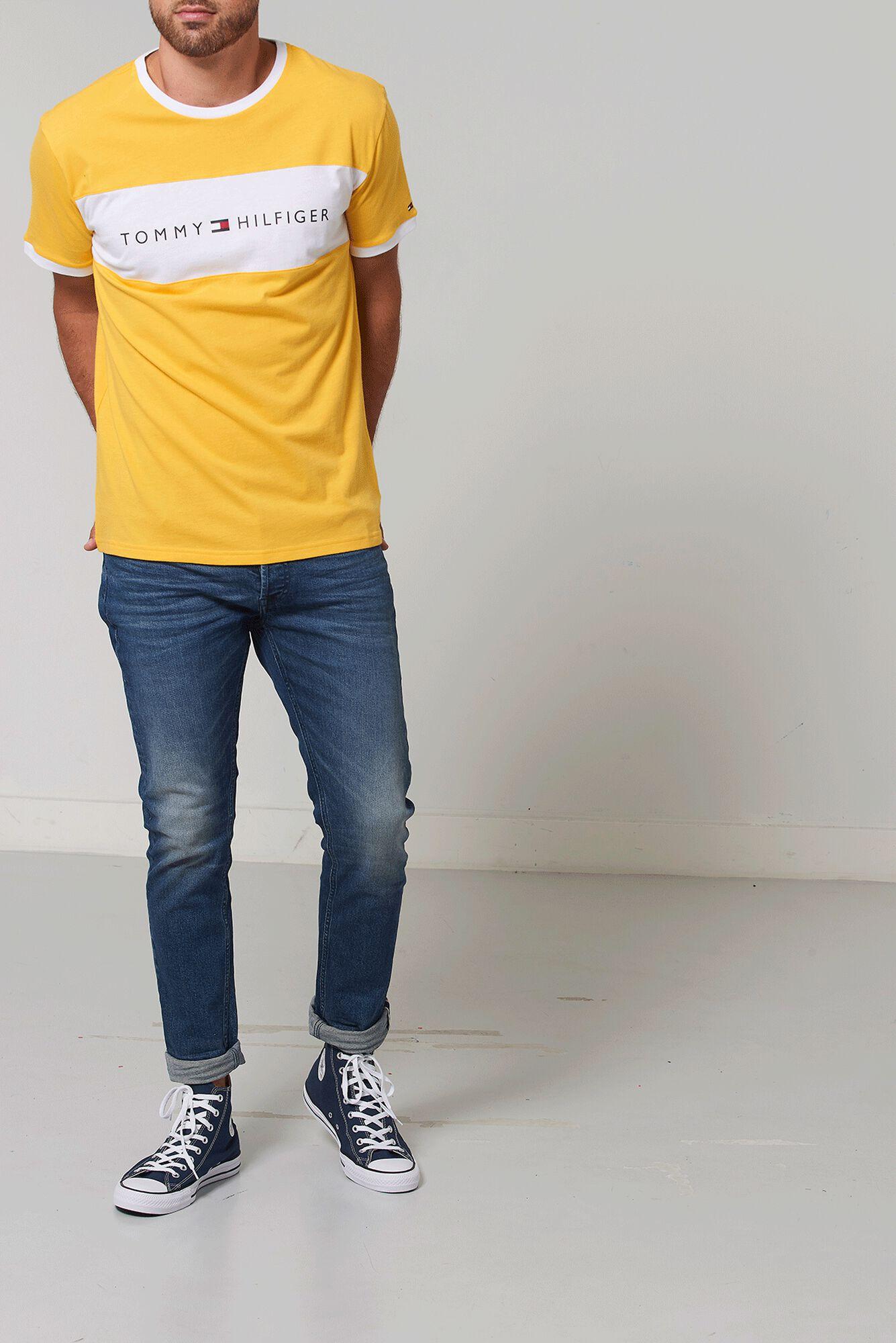 c359ff81 Men T-shirt Tommy Hilfiger Logo Yellow Buy Online