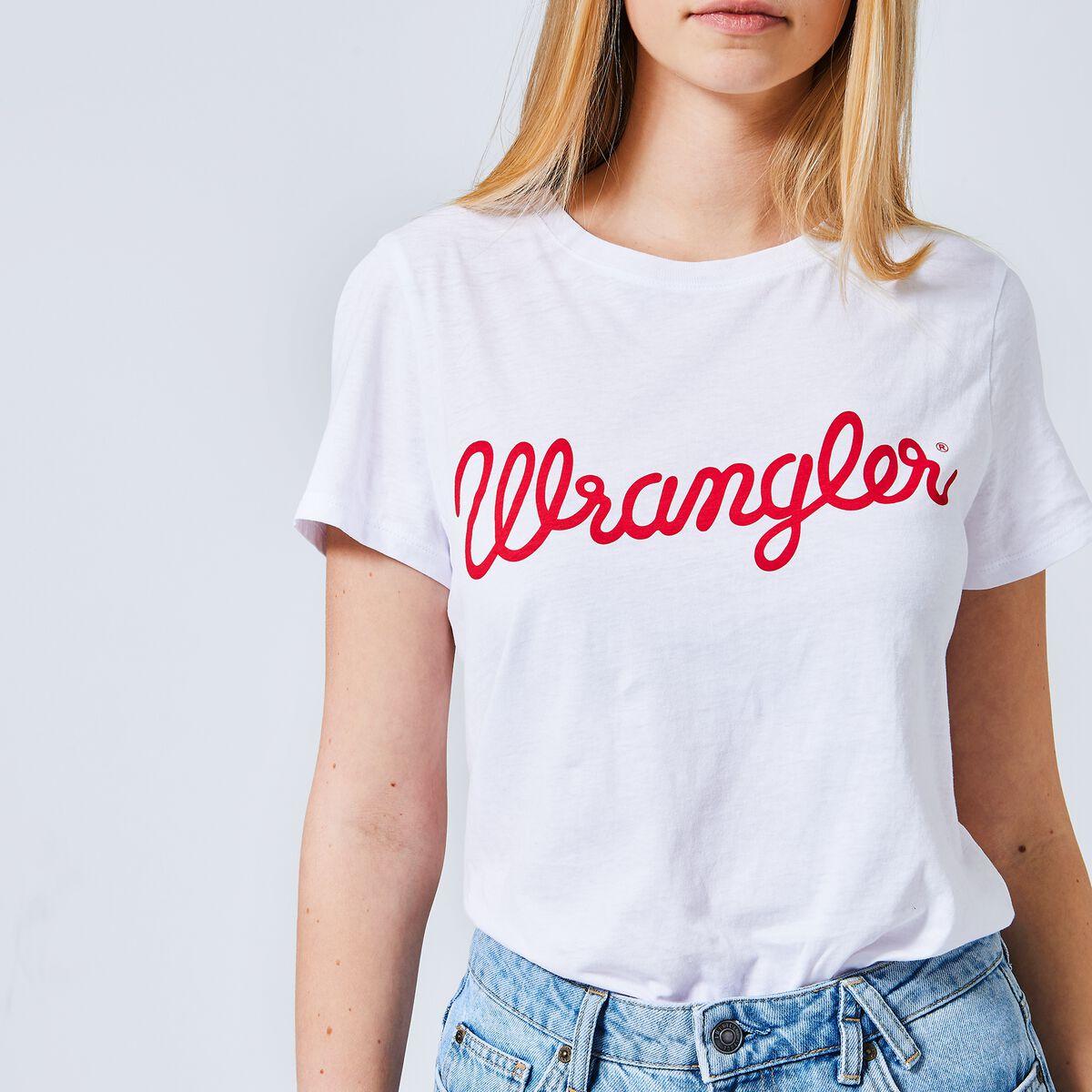 a912fe59f1433 Women T-shirt Wrangler Regular fit Red Buy Online