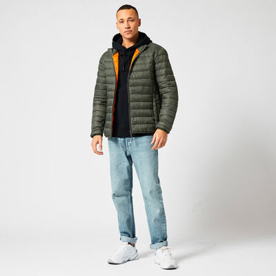 Padded jacket made of recycled polyester with slit pockets