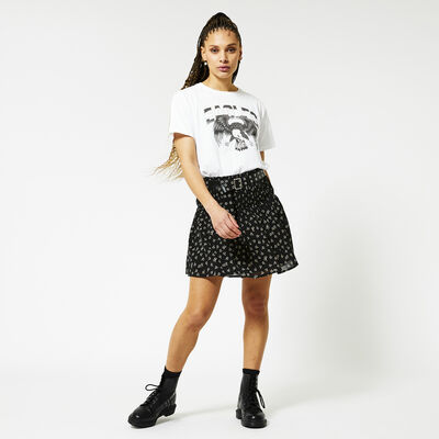 Pleated skirt with all-over print
