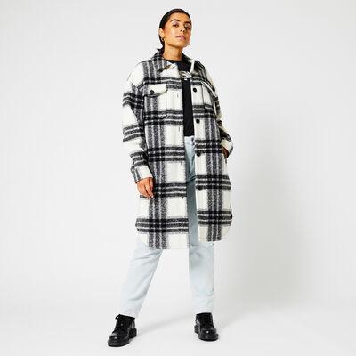 Jacket long plaid print