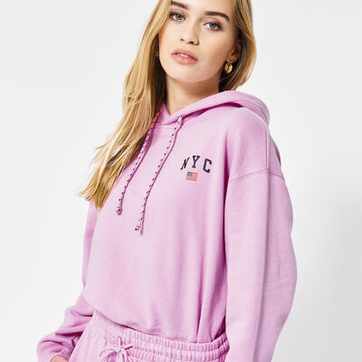 Hoodie with drawstring and text imprint