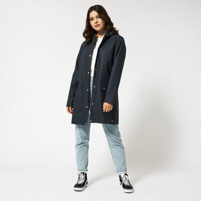 Long raincoat made of recycled polyester lined